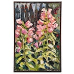 """Stephen Hankin Impasto Oil Painting """"Tall and Pink in the Garden"""""""