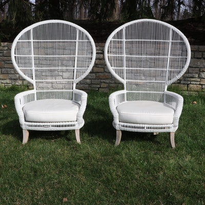 Pair of Outdoor White Painted Resin Wicker Peacock Chairs w/ Sunbrella Cushions