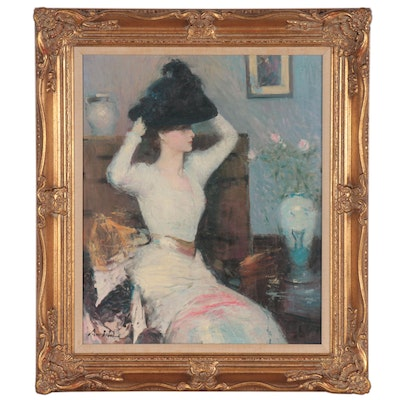 """Hans Amis Oil Painting after Frank Weston Benson """"Lady Trying on a Hat"""""""