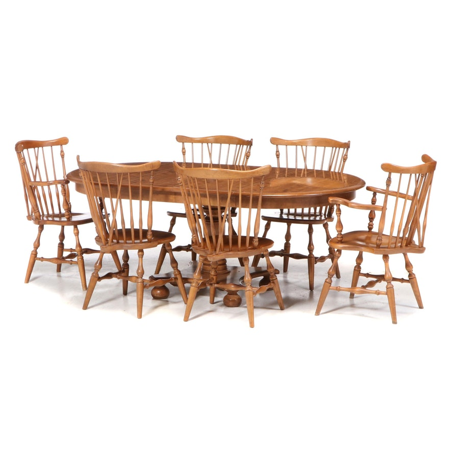 Seven-Piece Ethan Allen Maple Dining Set, Late 20th Century