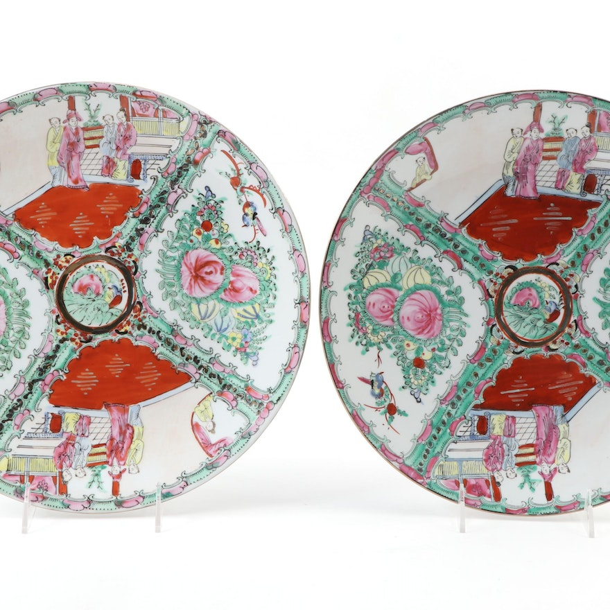 Chinese Rose Medallian Porcelain Chargers, Late 20th Century