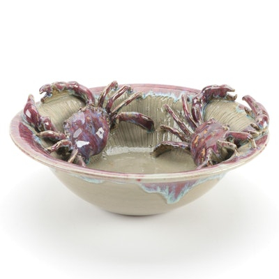 Drip Glaze Art Pottery Bowl with Applied Crabs, Contemporary