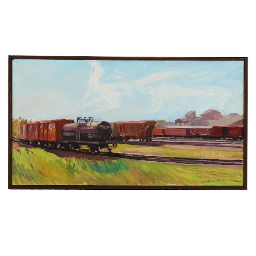 """Stephen Hankin Oil Painting """"Train Yard in Stevens Point, Wisconsin,"""" 1984"""