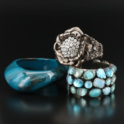 Bracelets with Givre Glass and Rhinestones