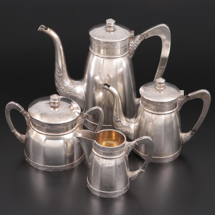 Russian 875 Silver Tea and Coffee Service, Early 20th Century