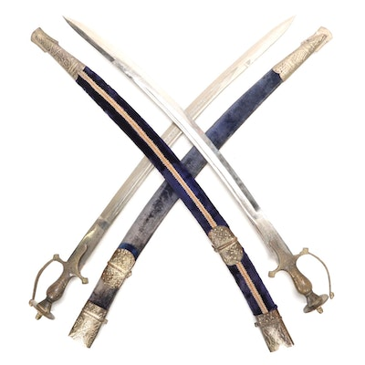 Indian Talwar Swords with Velvet Accented Sheaths