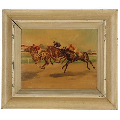 Oil Painting of Horse Race, Mid-Late 20th Century