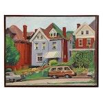 "Stephen Hankin Oil Painting ""Parked - Thomas Blvd., Pittsburgh,"" 1987"