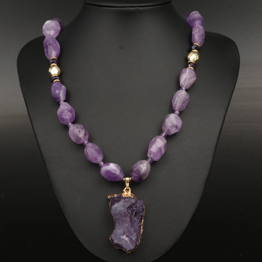 Geode and Amethyst Necklace