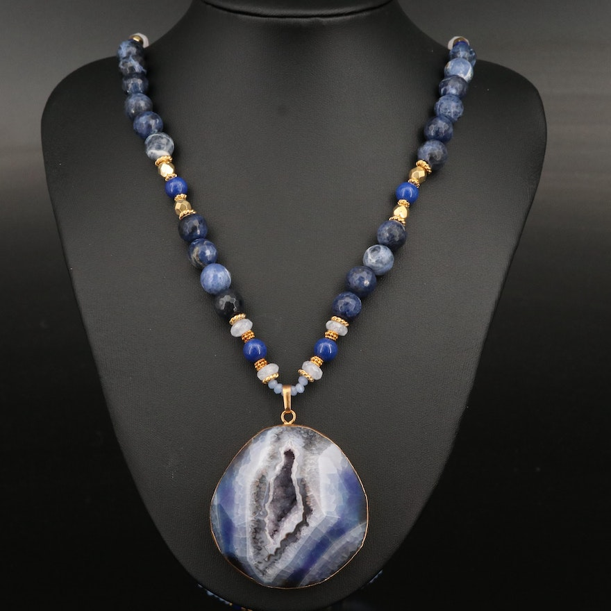 Geode, Faux Lapis Lazuli and Faux Pearl Necklace