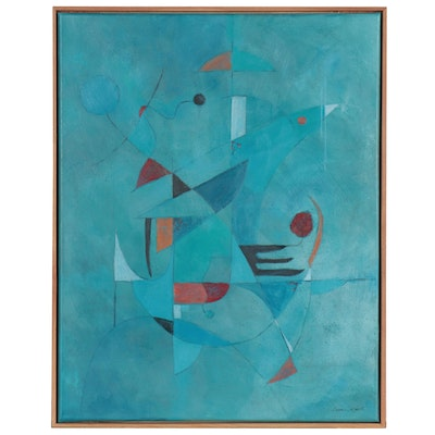 Eugene DeSmith Abstract Geometric Oil Painting, 21st Century