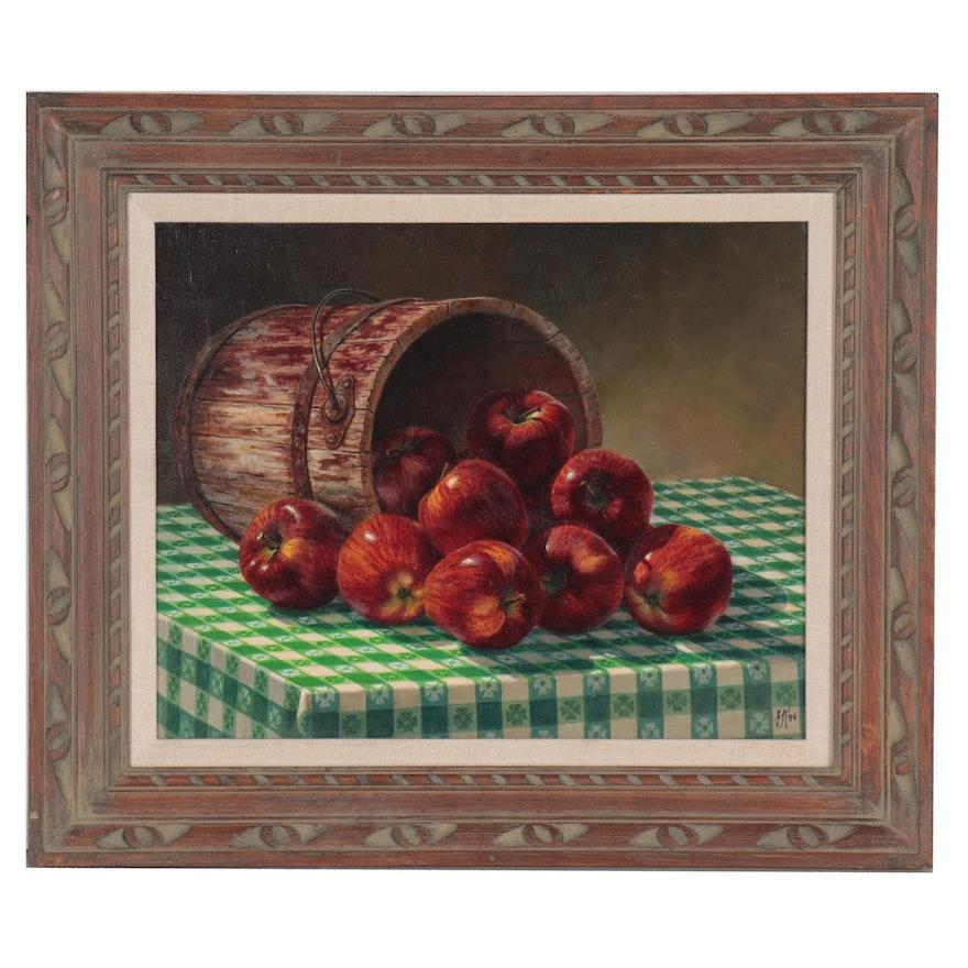 Hyperrealist Oil Painting of Apple Barrel, 1974