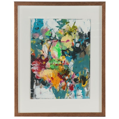 "Mark Whitmarsh Abstract Acrylic Painting ""Spring Flora,"" 2020"