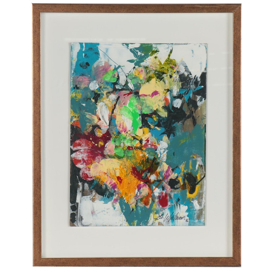 """Mark Whitmarsh Abstract Acrylic Painting """"Spring Flora,"""" 2020"""