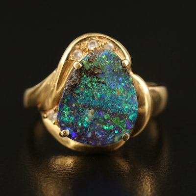 18K Boulder Opal and Diamond Ring