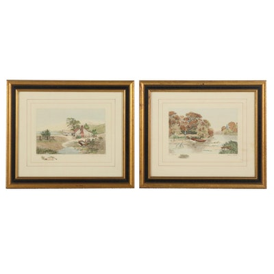 """Hand-Colored Etchings """"Rustic Home"""" and """"Swan Lake"""""""