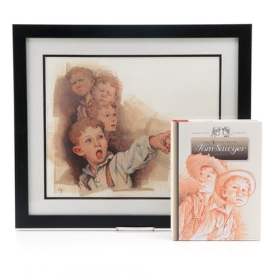 "C. F. Payne Illustrated ""Tom Sawyer"" with Mixed Media Painting ""Tom Testifies"""