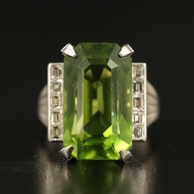 Platinum 13.88 CT Peridot and Diamond Ring