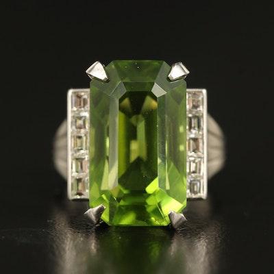 Platinum 13.88 CT Peridot and Diamond Ring