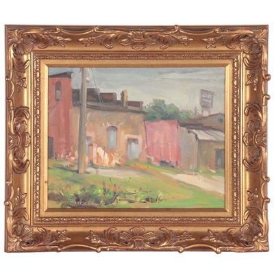 Ramon Mitchell Froman Oil Painting of Building Façades