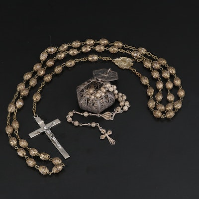Rosary Selection Featuring 800 Silver Filigree Rosary and Box
