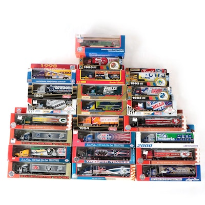 NFL and MLB Die Cast Team Tractor Trailers and NFL Motorcoach