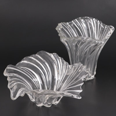 Flared Glass Vase and Centerpiece Bowl, Late 20th Century