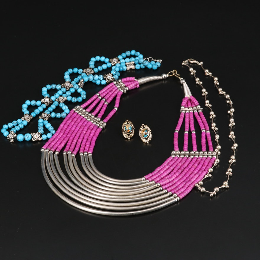 Jewelry Featuring Bone, Faux Turquoise and Rhinestones