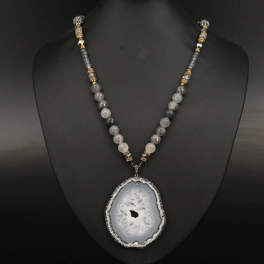 Agate Slice and Rhinestone Pendant on Labradorite Necklace