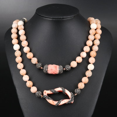 Shell, Mother of Pearl and Quartzite Endless Necklace