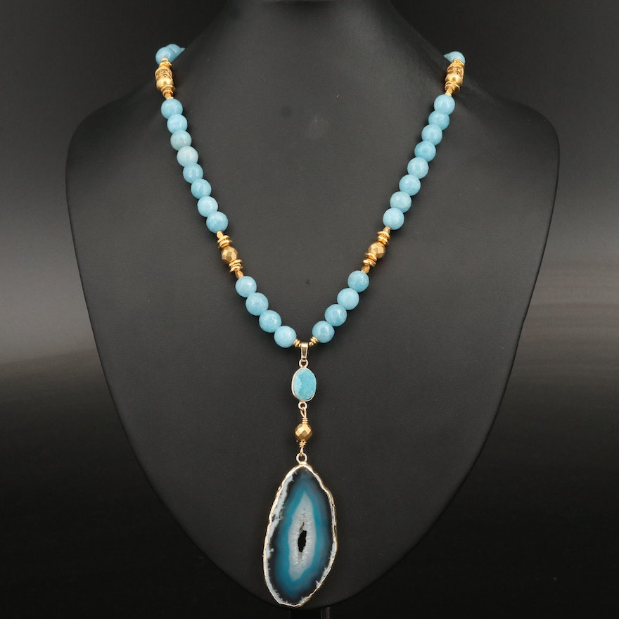 Agate Slice and Gemstone Beaded Necklace