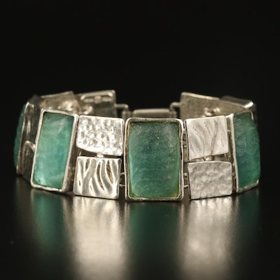Israeli Sterling Silver Glass Panel Bracelet