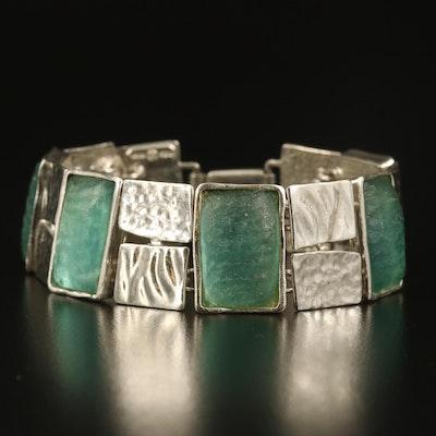Israeli Sterling Silver Glass Panel Bracelet