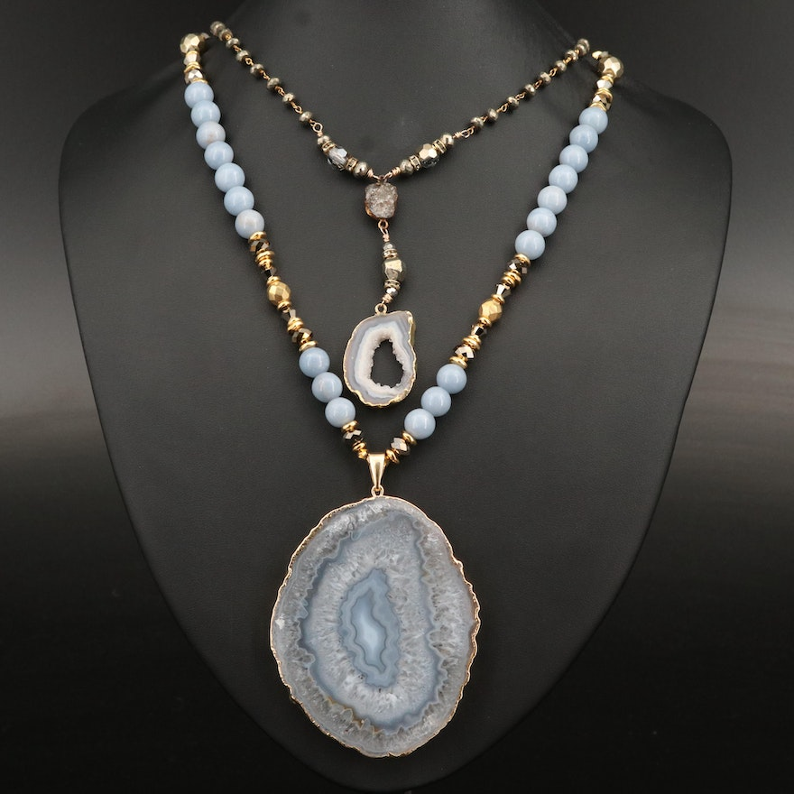 Agate Geode and Gemstone Beaded Necklaces