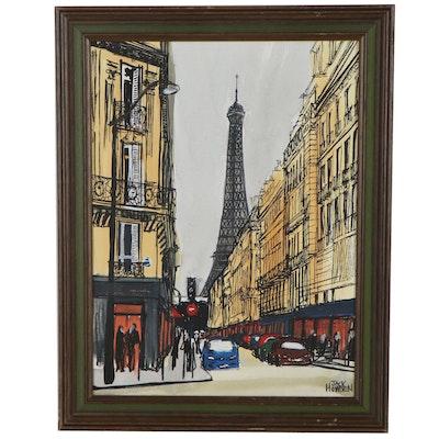 "Jack Howden Acrylic Painting ""Before The Rain, Paris,"" 2012"