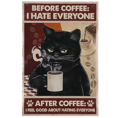 "Giclée of a Black Cat ""Before Coffee: I Hate Everyone,"" 21st Century"