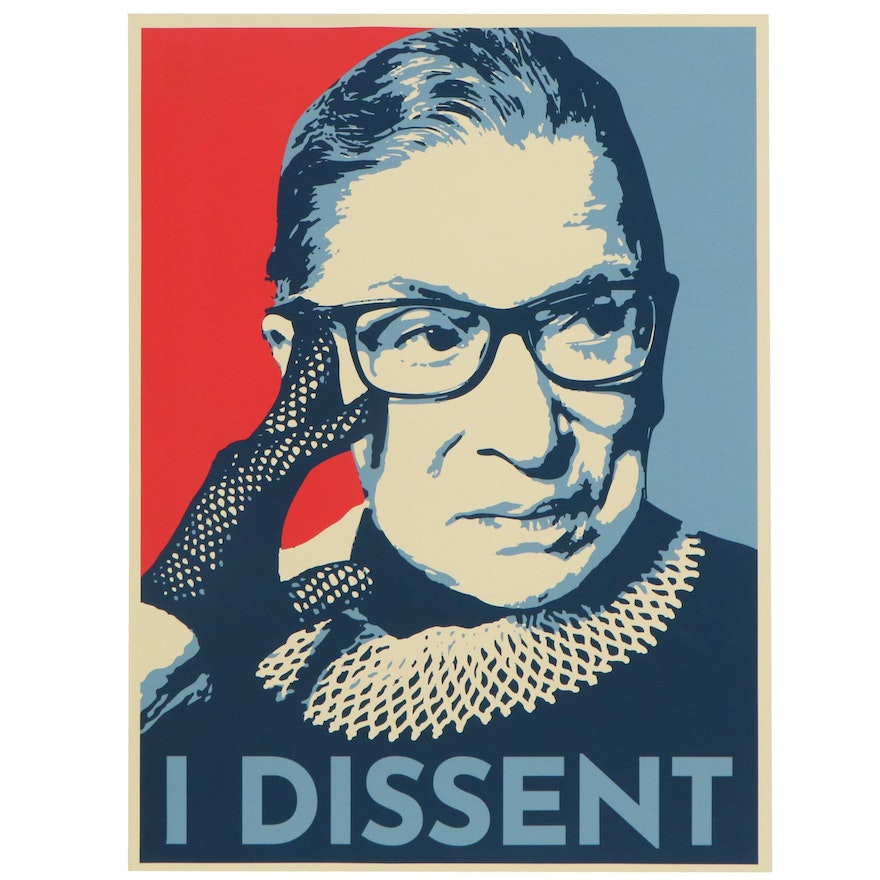 """Giclée of Ruth Bader Ginsburg """"I Dissent,"""" 21st Century"""