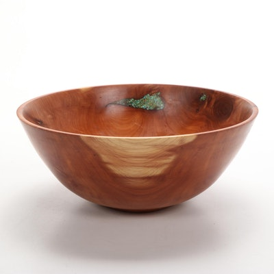 Jim Eliopulos Turned Texas Cedar Bowl With Turquoise Inlay