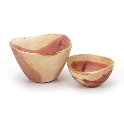Jim Eliopulos Turned Live Edge Cedar Wood Free-Form Bowls