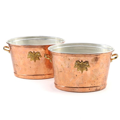 Ruffoni Italian Hammered Copper and Brass Oval Wine Buckets