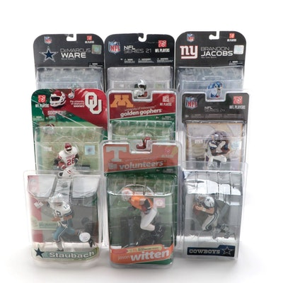NFL Player Action Figures Including Roger Staubach and Drew Bledsoe