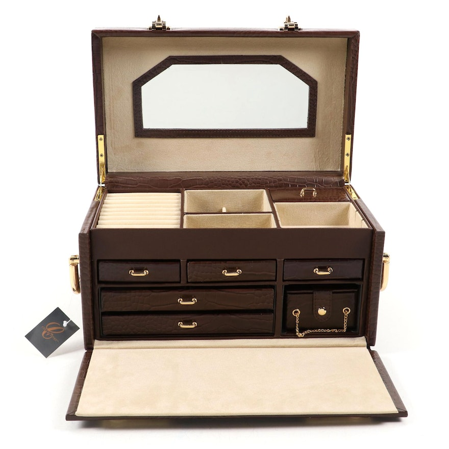 Collectives Dome Top Faux Alligator Leather Multi-Drawer Jewelry Box
