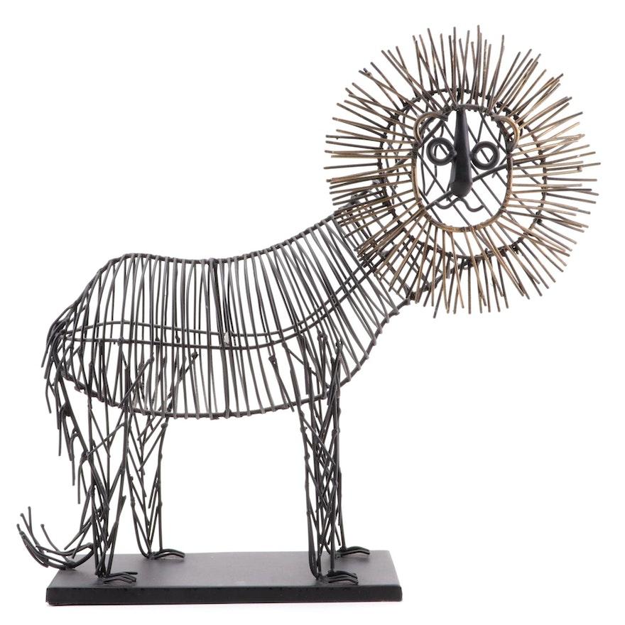Metal Lion Sculpture after Curtis Jeré
