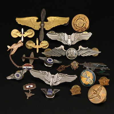 Antique and Vintage Air Force Pins Including WWII with Enamel Accents