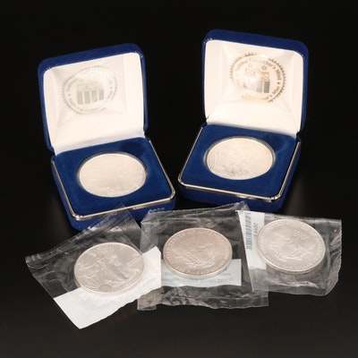 Five American Silver Eagle $1 Bullion Coins