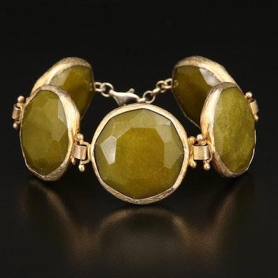 Sterling Silver Quartz Link Bracelet