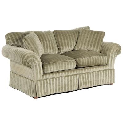Setsen's Velvet Upholstered Loveseat, Mid to Late 20th Century