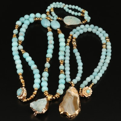Agate and Gemstone Necklaces with Expandable Bracelet