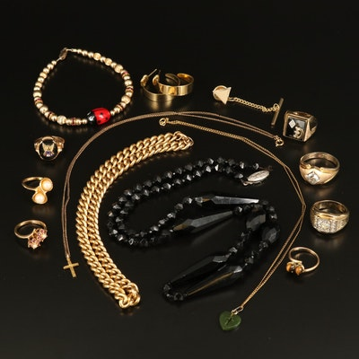 Gold-Filled Jewelry Selection Including Black Onyx Bead Necklace and Curb Chain