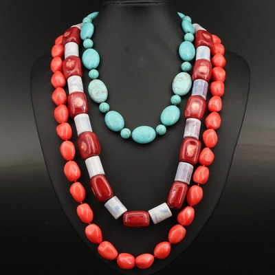 Ceramic and Turquoise Necklaces Including Jules Reid and Sterling